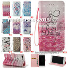 NEW 3D Cartoon Flower PU Leather slot wallet flip Phone case cover with Strap B