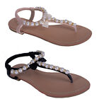 womens ladies flat summer sandal wedge holiday beach glitter flower shoe size