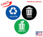 Set of 3 Recycle, Trash & Decal Sticker for trash cans, Home & Office