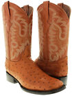 mens leather ostrich quill cowboy boots  western crocodile cognac brown