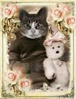 Whimsy Dust Victorian Cat Hugs Bear Quilt Block Multi Sizes FrEE ShiP WoRld WiDE