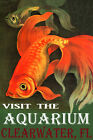 VISIT THE AQUARIUM CLEARWATER FLORIDA GOLDFISH FISH TRAVEL VINTAGE POSTER REPRO
