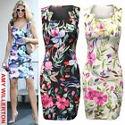 WOMENS LADIES SQUARE NECK FLORAL PRINT DRESS BODYCON SHIFT DRESSES WORK PARTY
