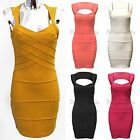 NEW WOMENS SLEEVELESS RIBBED BANDAGE DRESS CUT OUT BACK BODYCON LADIES PARTY TOP