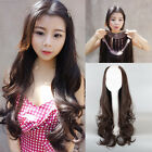 3 4 Wig Long Wavy Curly Daily Costume Full Hair Lady Synthetic U Part Half Wig