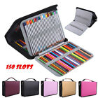 150 Slots PU Leather Foldable Art Pencil Pen Case Holder Pouch Large Capacity EM