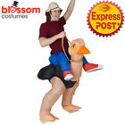 K354 Riding Ostrich Animal Adult Fan Inflatable Fancy Costume Funny Suit Hat