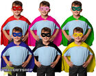 CHILDS SUPER HERO CAPE + MASK FANCY DRESS UNISEX BOYS GIRLS CLOAK ROBE ACCESSORY