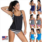 Women's Tankini Bikini Set Push-up Padded Swimsuit Bathing Suit Swimwear US
