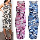 LADIES CAMOUFLAGE PRINT MIDI DRESS WOMENS BODYCON KNEE CALF LENGTH SKIRT LOOK