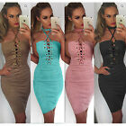 Womens Ladies Bandage Bodycon Lace Up Cocktail Evening Party Pencil Midi Dress