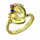 Personalized Baby feet Rings with Birthstone Engraved Names Rings Gifts for Mom, used for sale  China