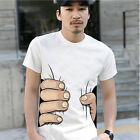 Men Summer 3D Big Hand Print Round Neck Short Sleeve White T-shirt Hot Gift