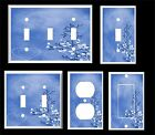 BLUE HEART AND LEAVES CONTEMPORARY DECOR  LIGHT SWITCH COVER PLATE