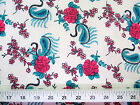 Discount Fabric Challis Rayon Pink Floral Teal Paisley 2 yds @ $6.99 202K
