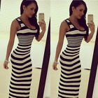 Summer Women Maxi Sundress Party Beach Sleeveless Vest Strips Casual Long Dress