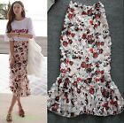 Hot Girls Summer White T-shirt Empire Waist Floral Skirt Lace Mermaid Dress 2PC