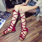 Roman Women's Gladiator Flat Heel Knee Shoes Lace Up Sandals Boots Party Shoes