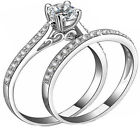 2.00 ct 2 pc Real 925 Sterling Silver Women's Wedding Engagement Ring Sz 4-11,5