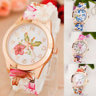 Women Girl Watch Silicone Printed Flower Causal Quartz WristWatches Gift  image