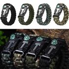 New Survival Paracord Bracelet - Flint Fire Starter Whistle Compass Gear Tools