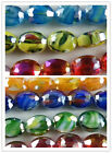 30pcs Crystal Mixed Color Faceted Oval Spacers 12x9x6mm AM27 AM28