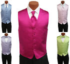 Mens Solid Satin Brandon Michaels Fullback Tuxedo Vest with Tie Perfect for Prom