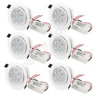 6 Pcs 7W White Light 7 LEDs Recessed Ceiling Downlight Down Spot Lamp w Driver