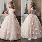 New Custom Net Lace Appliques Kids Birthday Party Gowns Flower Girl Dresses