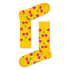 Happy Socks Cherry Unisex Socks Yellow Neon Pink