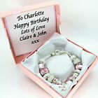 Womens Bracelet Pink Charms PERSONALISED BOX 18th 21st 30th 40th BIRTHDAY Gift