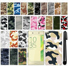 For Sony Xperia X F5121 F5122 Camo Design HARD Back Case Phone Cover + Pen