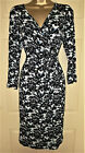 Adini black with print jersey sewn down wrap dress 3/4 sleeved size M 14