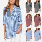 UK 8-26 CELMIA Women's Check Plaid Casual Shirts Long Sleeve T Shirt Tops Blouse