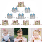 Baby Girls Boys Glitter Crown Birthday Party Hat Headband Hairband Headwear FN