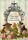 Cat & Roses Collage Crazy Quilt Block FrEE ShiPPinG WoRld WiDE (C6