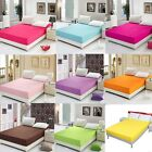 Solid Bedding Fitted Sheet  Single Queen King Super King Sizes
