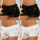 Lace Hollow Floral Short Wome Hot Pants Stretch Waist Casual Beach Short O8140
