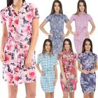 Ladies Check Paisley Floral Print Belted Shirt Dress Tee Plus Size  Womens