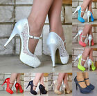 Kyпить LADIES LACE EMBELLISHED PLATFORM HIGH HEELS MARY JANE PARTY SHOES UK SIZES 3-9 на еВаy.соm
