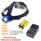 XM-L T6 LED 5000LM Headlamp Headlight Zoomable +Batteries +Charger Fishing ..