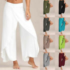 Womens Ladies Chiffon Loose Leg Tenth High Waist Thin Slim Casual Pants Trousers