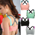 Women Yoga Fitness Stretch Top Workout Cross Racerback Padded Outdoor Sports Bra
