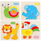 Wooden Cartoon Animals Puzzle Jigsaw Baby Kids DIY Training Education Toy