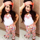 Baby Girls Summer Outfits Clothes T-shirt Tops+Pants Headband Toddler Kids Set