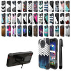 For ZTE Grand X 3 X3 Z959 Warp 7 N9519 Hybrid Dual Layer Stand Case Cover + Pen