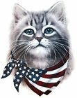 American Flag Shirt, Cat with Flag Bandana, 4th of July, Patriotic, Small - 5X