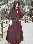 Ladies Victorian 3pc tartan  gentry costume - fancy dress. Burgundy & green