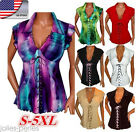 US Plus Size HOT Summer Lady V-Neck Blouse Cotton T-Shirt Casual Sleeveless Tops
