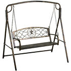 Iron Patio Hanging Porch Swing Bench & A Frame Outdoor Furniture Chain Deck Yard